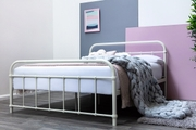 Henley White Metal Victorian Hospital Dorm Style King Size Bed Frame