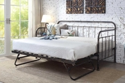 Harlow Hospital Style Antiqued Black Metal Day Bed with Guest Trundle - Single
