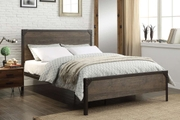 Marlow Industrial Rustic Brown Metal & Wood Bed Frame - Double / King Size