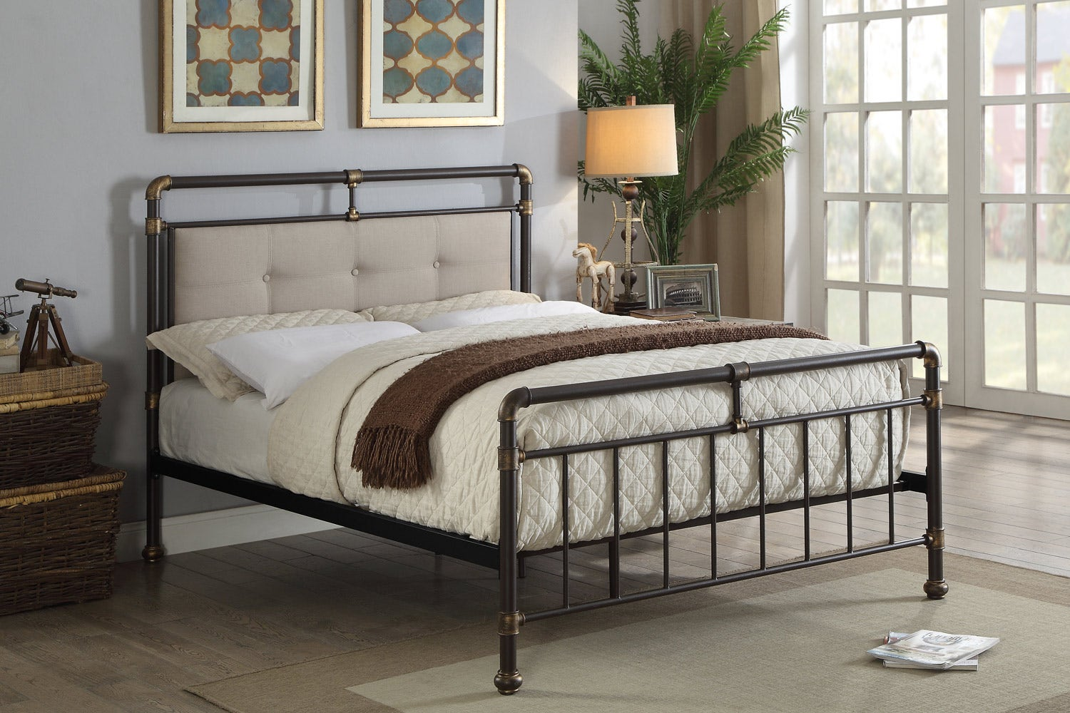 Oxford Modern Industrial Style Brown Metal And Fabric Bed Frame Double King Size Crazypricebeds Com