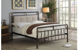 Oxford Industrial Scaffold Brown Metal & Fabric Bed Frame - Double / King Size