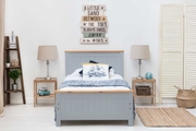 Rostherne Grey & Oak Wooden Farmhouse Bed Frame - Single / Double / King Size