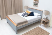 Rostherne Farmhouse Grey Solid Wooden Panel Double Size Bed Frame