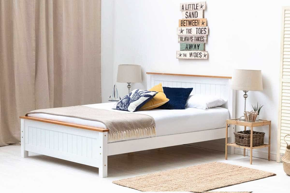 Rostherne White Oak Farmhouse Shaker Style Wooden Bed Frame Single Double King Size Crazypricebeds Com