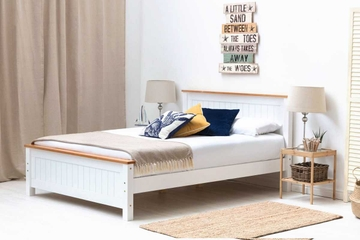 Rostherne White & Oak Wooden Farmhouse Bed Frame - Single / Double / King Size