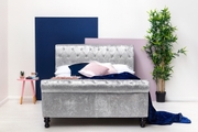 St James Silver Crushed Velvet Chesterfield Sleigh Bed Frame - Double / King Size