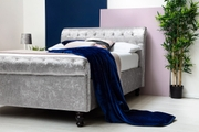 St James Silver Crushed Velvet Sleigh Ottoman Storage Bed Frame - Double / King Size