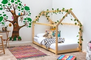 Treehouse Style Natural Solid Pine Kids Wooden Single Bed Frame