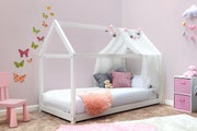 Treehouse Style White Kids Wooden Solid Pine Single Bed Frame