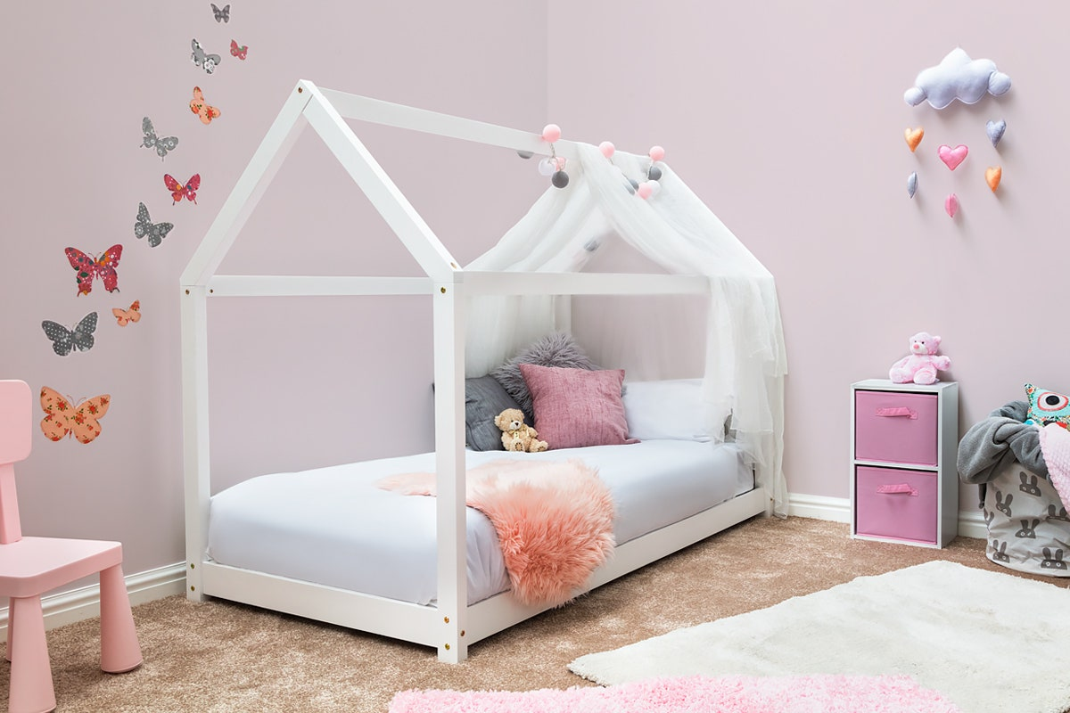 Treehouse House Style White Wooden Kids Bed Frame Single 3ft Crazypricebeds Com