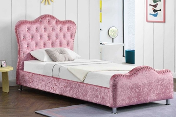 Windsor Diamante Pink Crushed Velvet Upholstered Storage Bed Frame - Single