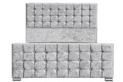Dalkeith Diamante Silver Crushed Velvet Upholstered Bed Frame - Double / King Size