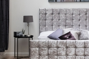 Dalkeith Cubed Diamante Silver Crushed Velvet Bed Frame