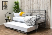 Banbury Industrial Scaffold Antiqued Silver Metal Day Bed & Guest Trundle - Single