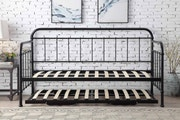 Harlow Hospital Style Black Metal Day Bed with Guest Trundle - Single