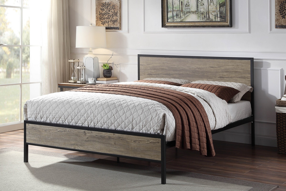 Salisbury Urban Industrial Style Wood Metal Bed Frame Double King Size Crazypricebeds Com
