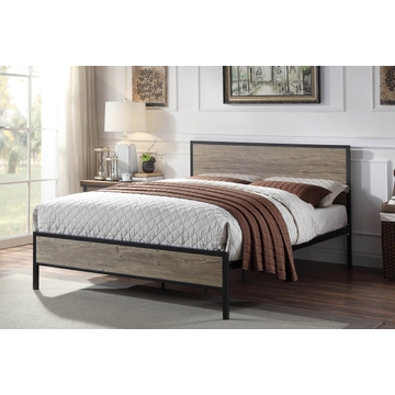 Salisbury Industrial Rustic Black Metal & Wooden Bed Frame - Double / King Size