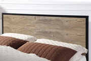 Salisbury Industrial Rustic Brown Metal & Wood Bed Frame - Double / King Size-Double 4ft6-No Mattress Required
