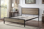 Salisbury Industrial Rustic Brown Metal & Wood Bed Frame - Double / King Size-King 5ft-No Mattress Required