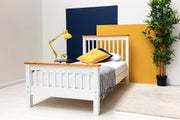 Pickmere White Solid Wooden Pine Bed Fame. Single / Double / King Sizes