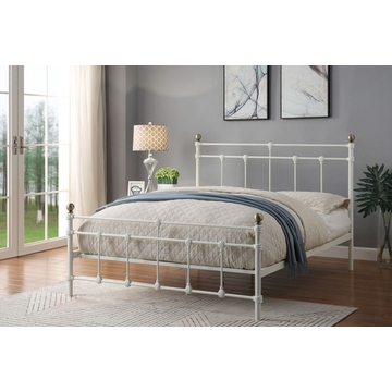 Trentham Vintage Victorian White Metal Bed Frame Double / King Size
