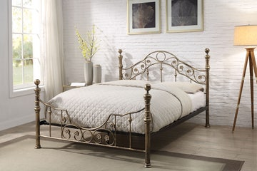 Salcombe Antique Style Brushed Brass Finish Metal Bed Frame Double / King Size