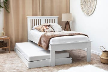 Astley White Wooden Single Bed with Guest Trundle Bed