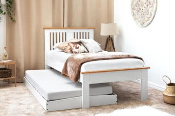 Astley White & Oak Effect Wooden Single Bed Frame with Guest Trundle Bed – Single 3ft