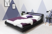 Barcelona Black Faux Leather LED Headboard Double Bed Frame 4ft6
