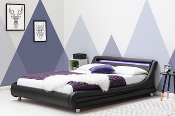 Barcelona low modern black faux leather designer bed frame with LED light headboard.