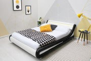 Barcelona Black/White Faux Leather LED Headboard Bed Frame - Single / Double / King Size