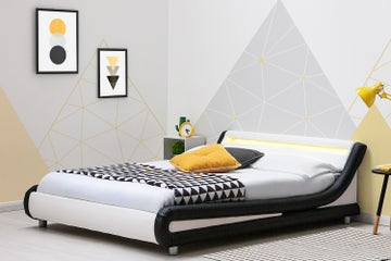 Barcelona Black/White Faux Leather LED Low Modern Bed Frame Single / Double / King Sizes