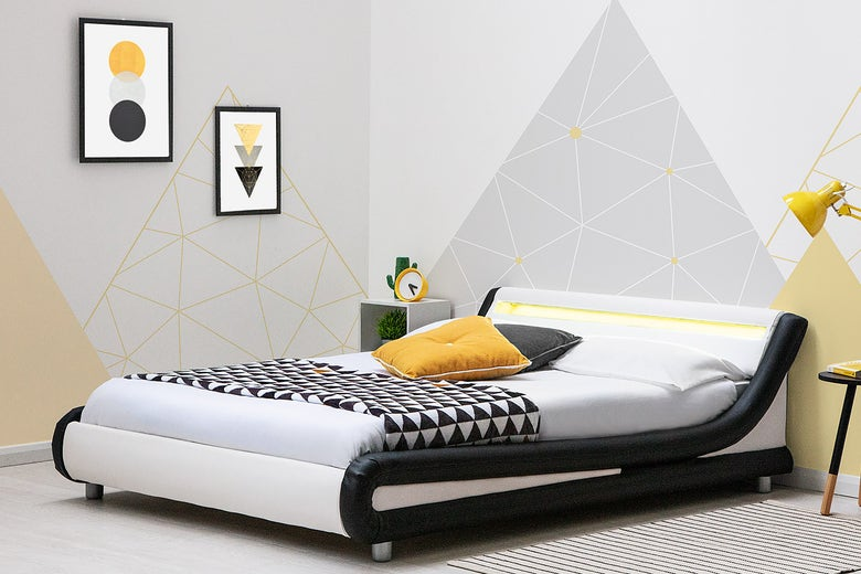 Barcelona modern low faux leather bed frame with LED light headboard