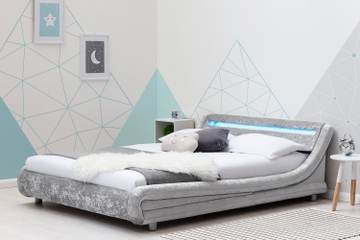 Barcelona Silver Crushed Velvet LED Low Modern Bed Frame Single / Double / King Sizes