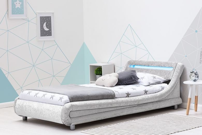 Barcelona silver crushed velvet single bed frame with LED light headboard