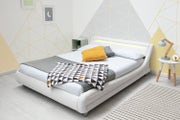 Barcelona white faux leather upholstered bed frame low to the ground with LED lights headboard