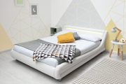 Barcelona White Faux Leather LED Headboard King Size Bed Frame 5ft