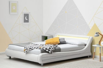 Barcelona white faux leather bed frame with LED light headboard