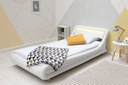 Barcelona White Faux Leather LED Headboard Bed Frame - Single / Double / King Sizes