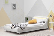 barcelona white faux leather single bed frame with led lights headboard