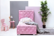 Beaumont Diamante Pink Crushed Velvet Under Storage Girls Single Bed