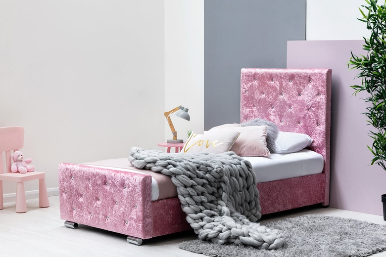Beaumont Diamante Pink Crushed Velvet Bed with Under Bed Storage Single 3ft
