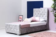 Beaumont Diamante Silver Crushed Velvet Bed - Single