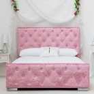 Beaumont Diamante Pink Crushed Velvet Double Bed Frame 4ft6