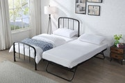 Belmont Black Metal Bed Frame with Guest Trundle Bed Single 3ft