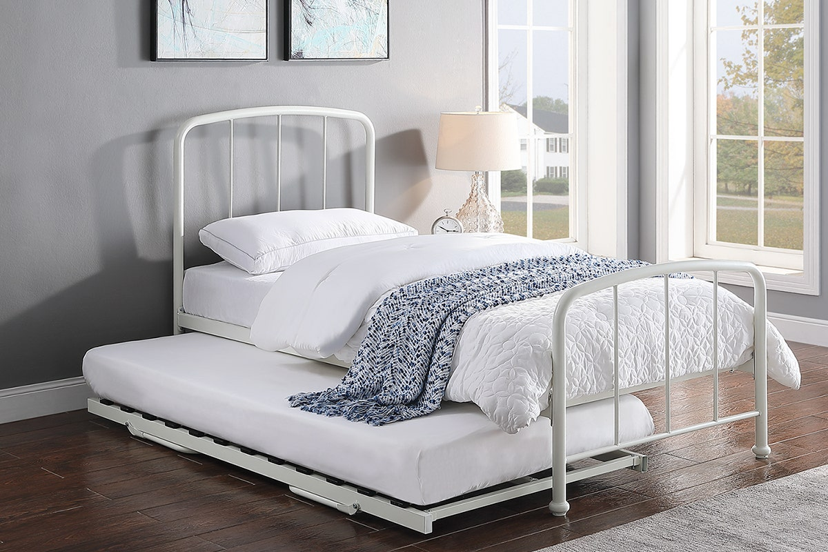 Belmont Metal Bed Frame With Guest Trundle Bed White Single 3ft Crazypricebeds Com