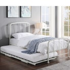 Belmont White Metal Bed Frame with Guest Trundle Bed Single 3ft