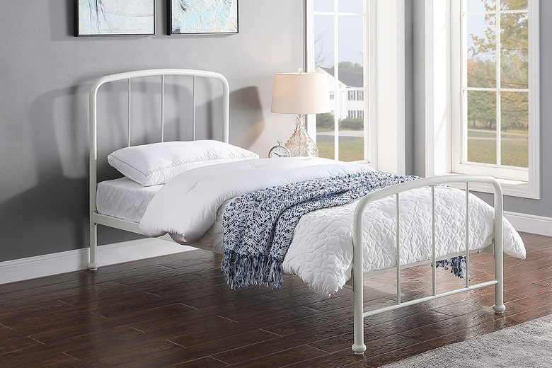 Belmont Industrial Style White Metal Bed Frame Single 3ft