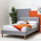 Bisham Fabric Upholstered Grey Double Bed Frame 4ft6