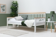 Blythe White with Oak Tops Wooden Single Bed Frame 3ft